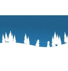 Silhouette of snowman chrismas vector