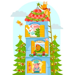 animals enjoying Christmas vector image vector image