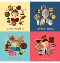 Birthday cake Grandmas cookies Sweets with vector image