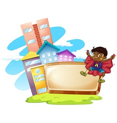 Frame design with boy and buildings vector image vector image