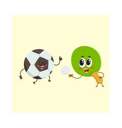 ping pong table tennis racket and football ball vector image vector image