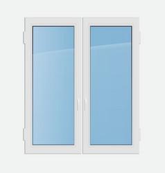 double casement plastic window vector image