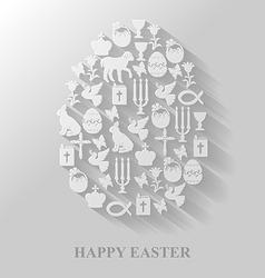 Easter cet egg flat vector