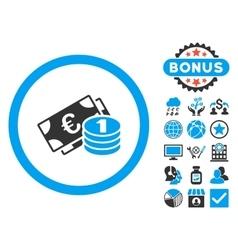 Euro Money Flat Icon with Bonus vector image vector image