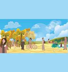 garden city park people interaction situation vector image vector image