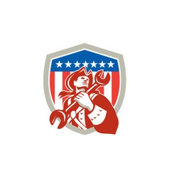 Mechanic American Patriot Holding Spanner Shield vector image vector image