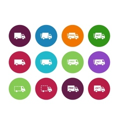 Shopping Trucks circle icons on white background vector image vector image