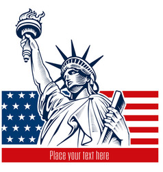 Statue of liberty nyc usa flag and symbol vector