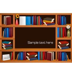 wooden bookshelves vector image vector image