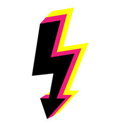 3d icons lightning bolt thunder sign with vector