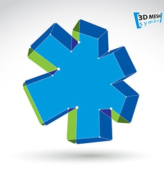 3d mesh web green and blue ambulance icon isolated vector