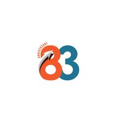 83 year anniversary template design vector