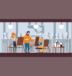 art studio group scene horizontal vector image