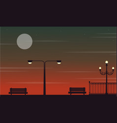 At night scenery on the street with lamp vector