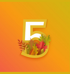Autumn five 5 number with forest leaves vector