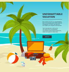 background with suitcases travel vector image