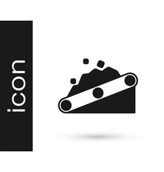 Black conveyor belt carrying coal icon isolated vector