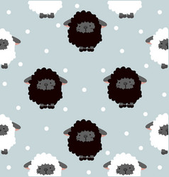 black sheep with dot seamless pattern vector image