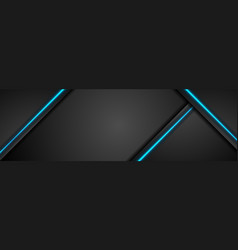Black tech concept banner with blue light vector