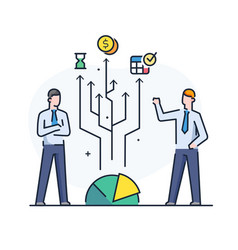 Businessmen are looking for a financial strategy vector