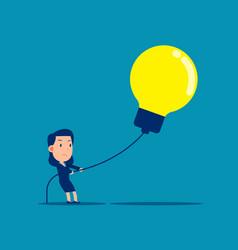 businesswoman pulling big light bulb business vector image