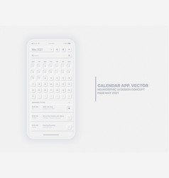 Calendar app may 2021 ui ux neumorphic design vector