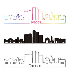 Caracas v2 skyline linear style with rainbow vector