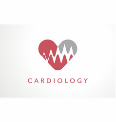 Cardiology clinic heart logo hospital red medicine vector