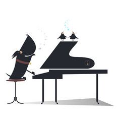 Cartoon dog a pianist silhouette isolated vector