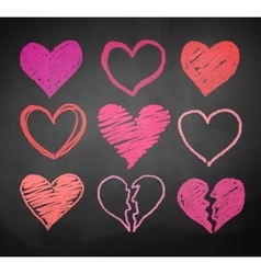 Chalk drawn hearts vector