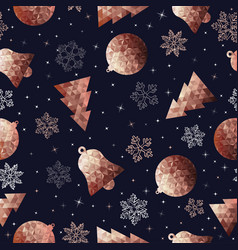 christmas ornament copper seamless pattern vector image