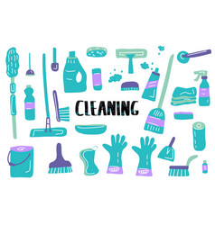 cleaning tools set of cleaning equipment vector image