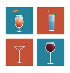 cocktails glasses drink black background vector image