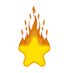 comic star shape on fire icon vector image