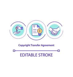 Copyright transfer agreement concept icon vector