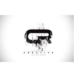 Cr c r grunge brush letter logo design in black vector
