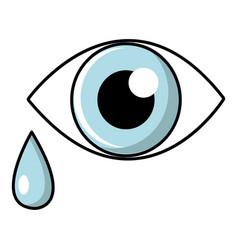 Crying eye icon cartoon style vector