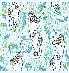 cute aqua cartoon diving cats pattern vector image