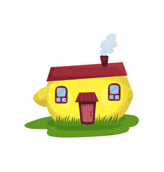 cute fantasy house in form of yellow lemon fairy vector image