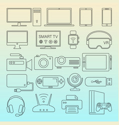 digital devices black line icons isolated set vector image
