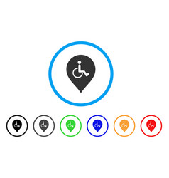 Disabled person parking marker rounded icon vector