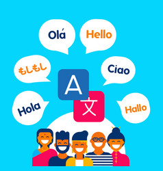 Diverse ethnic people group using translation app vector