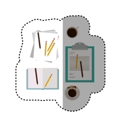 Document coffee mug and pencil design vector