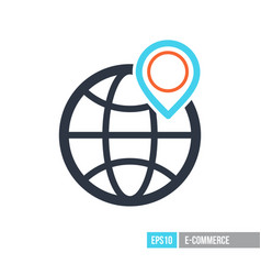 earth planet and location marker on it icon vector image