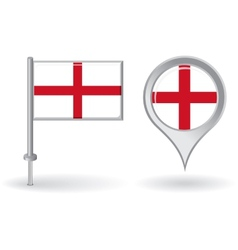 English pin icon and map pointer flag vector image