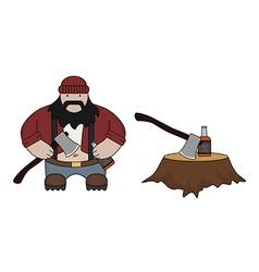 Fat lumberjack vector