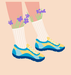 female legs in sneakers vector image