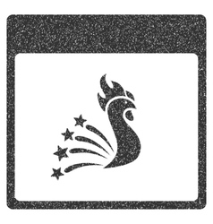 Festive Rooster Calendar Page Grainy Texture Icon vector