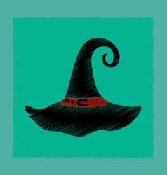 flat shading style icon halloween witch hat vector image