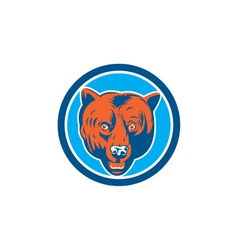 Grizzly Bear Head Front Circle Retro vector